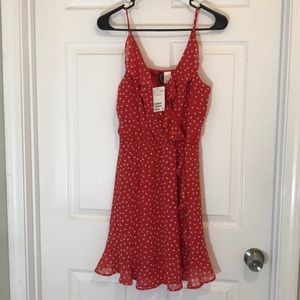 Red and white polka dot sun dress